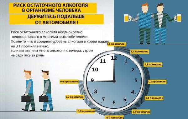 Алкоголь: через сколько часов можно садиться за руль