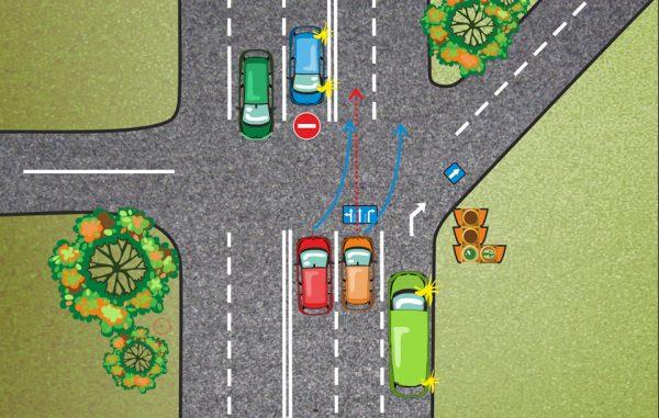 Когда включать поворотники на перекрестке со смещением полос